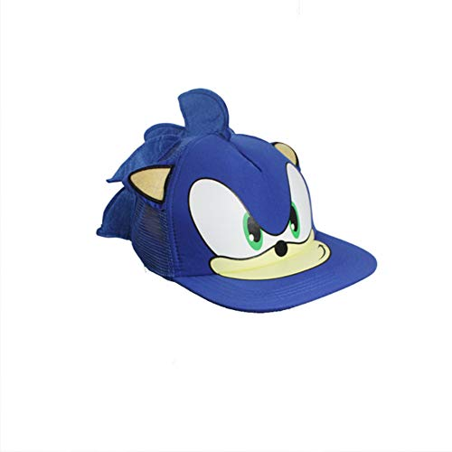 OWHO Sonic Hedgehog Hat Adjustable Baseball Cap Cartoon Hat Sonic Boy Blue, Large