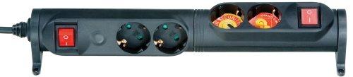 Vivanco 2-voudige stekkerdoos met 2 aparte schakelrijen, 90 graden draaibaar, kinderbeveiliging, TÜV en GS getest, wandmontage mogelijk, zwart