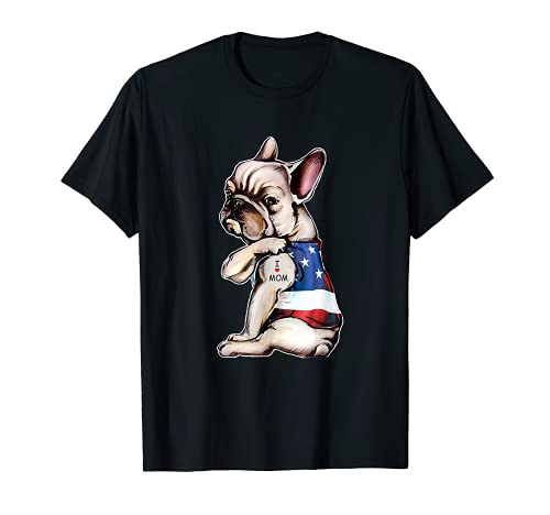 French Bulldog Tattoo I Love Mom T-Shirt