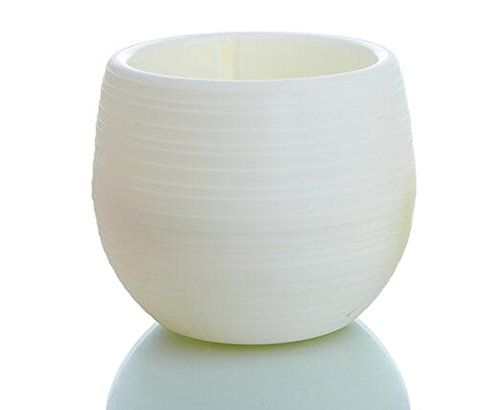 Qingsun Pot de Fleur en Plastique Cylindrique Pots Corée Style de Plantes Succulentes Pot avec Ensemble de Décoration de Bureau Plateau Maison, Blanc