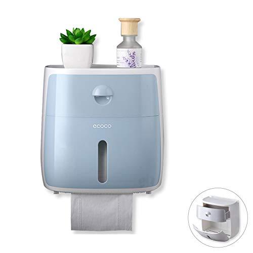 Meiyijia Toilettenpapierhalter Ohne Bohren, mit Schublade und Sichtbares Fenster Badezimmer Multifunktions Aufbewahrungsbox (Blau)