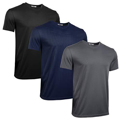iClosam Maglietta Fitness Uomo Basic Sportive Casuale Palestra Rapida Maglia Magliette T Shirt (Grigio + Nero + Blu scuro-3Pezzi, M)
