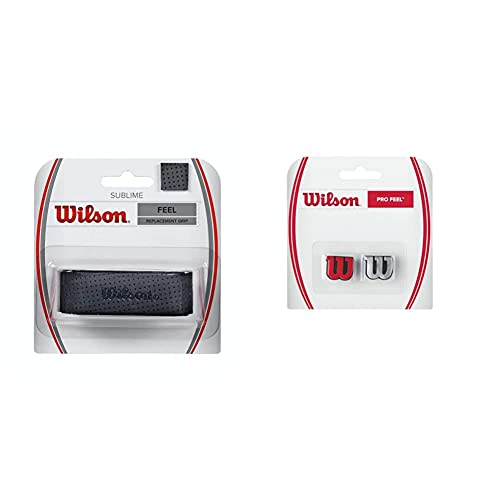Wilson Unisex Basisgriffband Sublime, schwarz, 1 Stück, WRZ4202BK & Logo-Vibrationsdämpfer für Tennisschläger, Pro Feel, 2er Pack, rot/Silber, WRZ537600