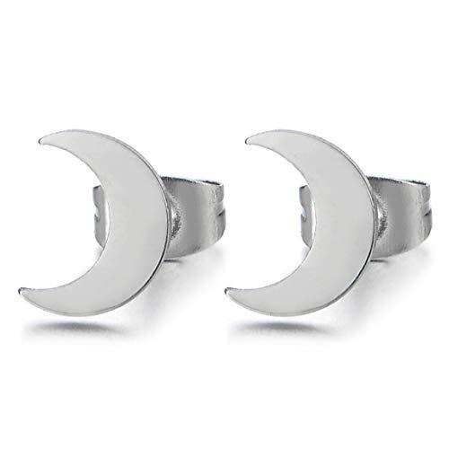Creciente Luna Pendientes de Mujer Niñas Hombre, Acero Inoxidable, 2 Piezas