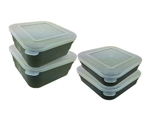 Roddarch 4 Fishing Maggot Bait Box Tub 2 x 2 Pint & 2 x 1 Pint Bait Boxes Shatterproof ABS