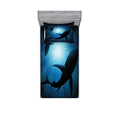 Ambesonne Shark Fitted Sheet & Pillow Sham Set, Silhouette of The Fishes Swimming at Twilight Night Moon Mystic Sea Scenery, Decorative and Printed 2 Piece Bedding Set