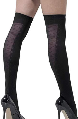 Damen Korsett mit Schnürung, sexy, Schwarz, Burlesque, Kostüm-Accessoire, Strümpfe, halterlose Strümpfe
