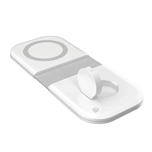 2 in 1 per iPhone12 caricatore wireless magnetico Qi 15W, Adatto per iWatch airpods, pad di ricarica wireless da tavolo pieghevole duo