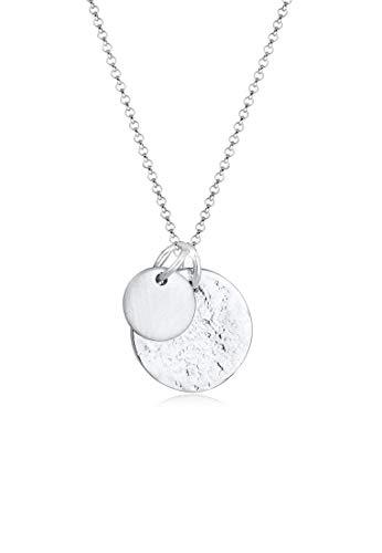 Elli Halskette Damen Plättchen Anhänger Geo Organic Look Bi-Color in 925 Sterling Silber Vergoldet