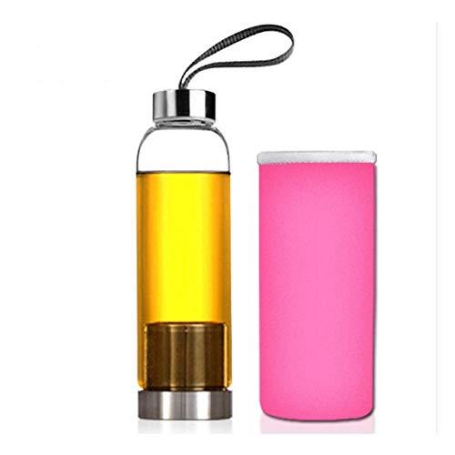 Yfymk-MX Botella de Cristal con Agua del Deporte del té Filtro infusor Bolso Protector 550ml for la excursión al Aire Libre, Oficina, Deportes (Capacity : 550ml, Color : Pink)