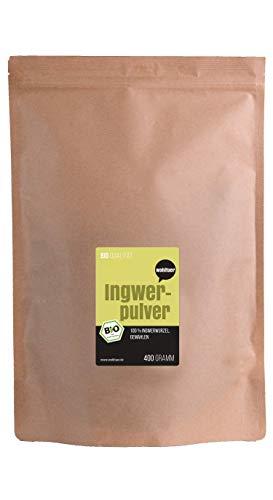 Wohltuer Bio Ingwerpulver - Ingwerwurzel gemahlen 400g - Glutenfrei - Ideal auch für Ingwertee oder Ingwerwasser - Aus Indien