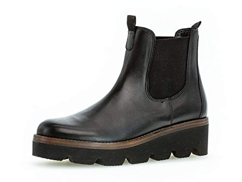 Gabor Damen Chelsea Boots 34.720, Frauen Stiefelette,HalbSchlupfgefüttert,Winterstiefeletten,schwarz (Cognac),38.5 EU / 5.5 UK