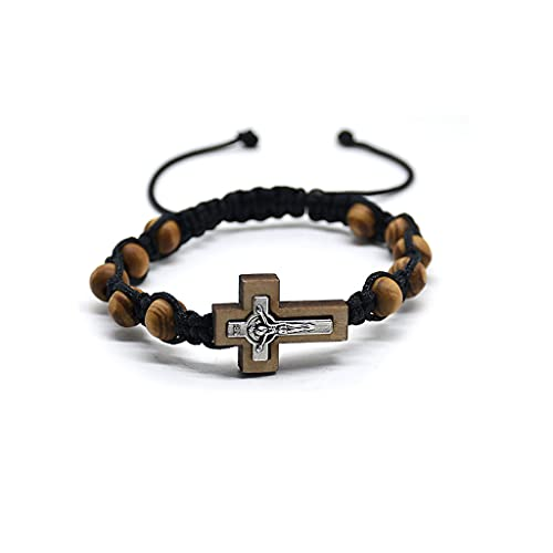 XIANZI Pulseras de la amistad, cadena de cuerda elástica, rosario, pulsera con cruz de perlas de pino y pulsera de aleación, joyas para regalo