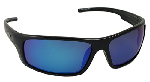 Sea Striker Finatic Polarized Sunglasses, Black Frame, Blue Mirror Lens