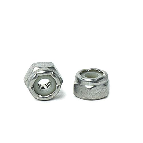 #8-32 Nylon Insert Hex Lock Nuts, (Elastic Stop Nuts) Stainless Steel 18-8, Plain Finish, Quantity 100 by Bridge Fasteners