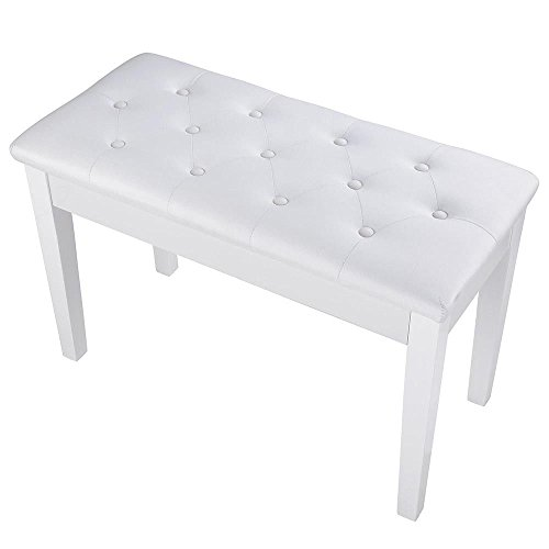 Best Bargain White 29.33 Piano Bench Keyboard Stool w/Storage Compartment & Wood Leg with Ebook