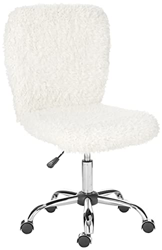Urban Shop Faux Fur Task Chair, White Shepra