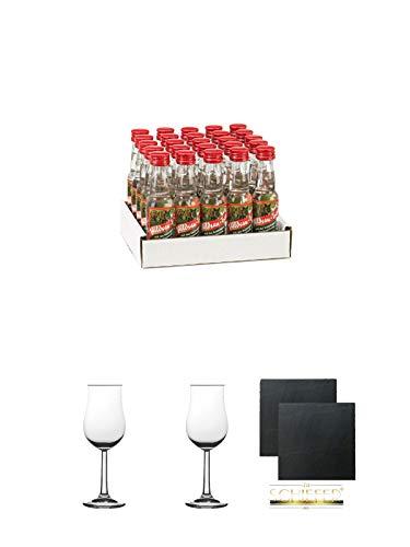 Wildsautropfen mit Himbeernote 25 x 0,02 Liter Minis + 2 Bugatti Nosing Gläser mit Eichstrich 2cl und 4cl + 2 Schiefer Glasuntersetzer eckig ca. 9,5 cm Ø