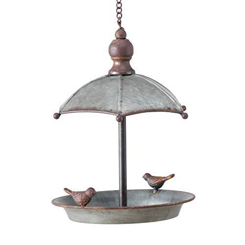 Whole House Worlds WHW Vogeltränke Sarina zum Aufhängen, H 24 cm, Zink, grau, mit Schirmform