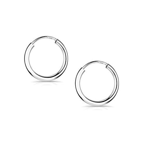 Materia Creole klein Silber 925 - Ohrklemme Ohr-Piercing Herren Männer Damen dünn mini rhodiniert 13mm in Box so-368