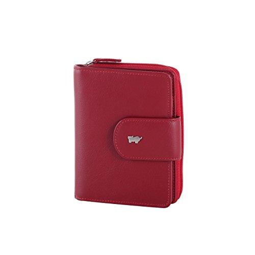 Braun Büffel Damen Portemonnaie aus Nappaleder Lederbörse - 9 Kartensteckfächer - 10 x 12,5 x 2,5 cm (rot)