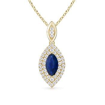 Marquise - Colgante de zafiro con doble halo de diamante (10 x 5 mm, zafiro azul)