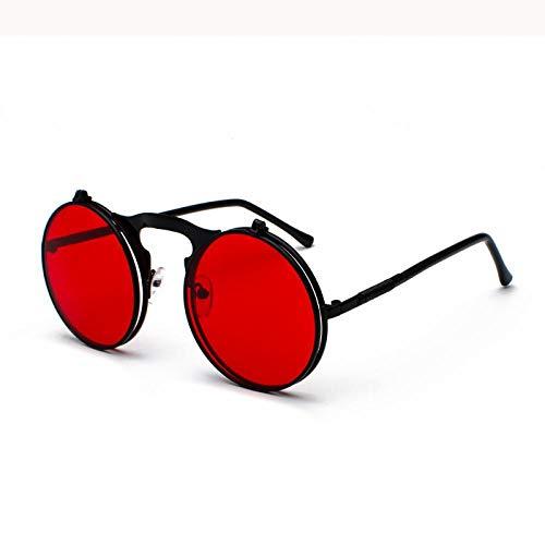 Sonnenbrille Sunglasses Rote Sonnenbrille Runde Flip Up Metallrahmen Brille Ocean Lens Steampunk Sonnenbrille Frauen Männer C2Blackred