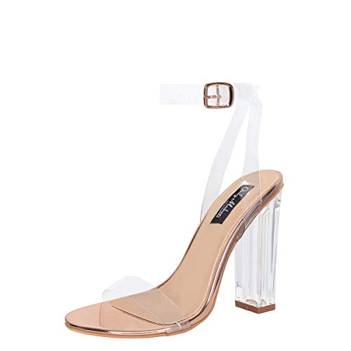 Only maker Damen Sandaletten Transparente Sandalen Riemchen Pumps Blockabsatz High Heels Rosegold 46 EU