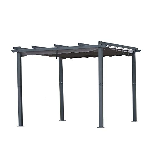 Angel Living Aluminum Garden Pergola, Gazebo with Retractable Roof Canopy for Outdoor Patio (3x3m, Grey)