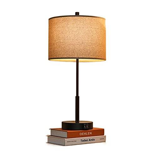 HSTG Lámparas de Mesa, lámpara de Noche, con 2 Puertos USB, lámparas de mesita de Noche de 3 vías dimmables con Tonos de Tela Beige para el Dormitorio, etc.