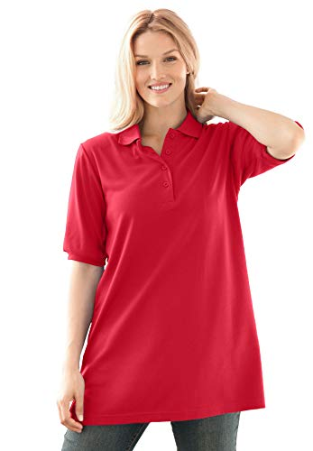 Woman Within Women's Plus Size Elbow-Sleeve Polo Shirt - 4X, Vivid Red