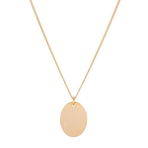 TomShot Halskette Damen Ovaler Anhänger - Goldkette Elipsen Anhänger Platte Plättchen Ei-Form vergoldet - 95ke0112g