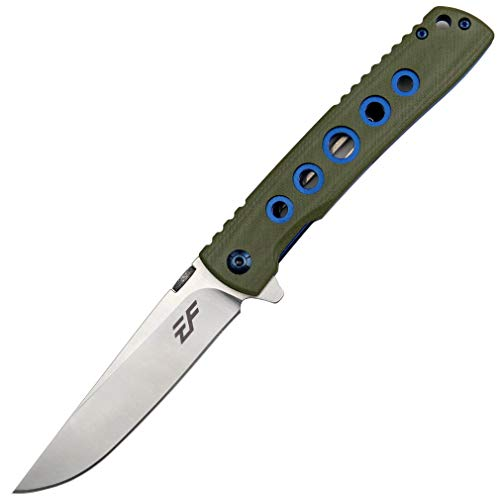 Eafengrow EF27 Klappmesser, Küchenmesser D2 Stahlklinge für den täglichen Gebrauch, Flipper Open, Liner Lock, G10 Taschenmesser mit Clip für Camping Wandern(Grün)