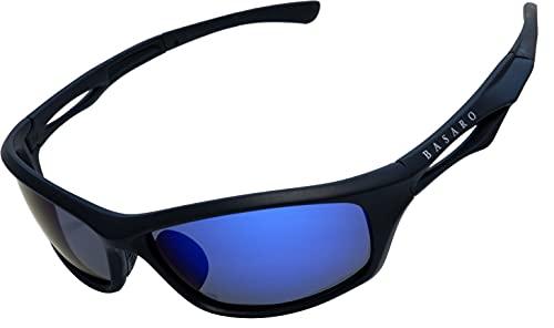 BASARO エアレガート 偏光サングラス スポーツサングラス メンズ レディース Bas-psg02 メガネケース ソフトケース (ブルーブラック)