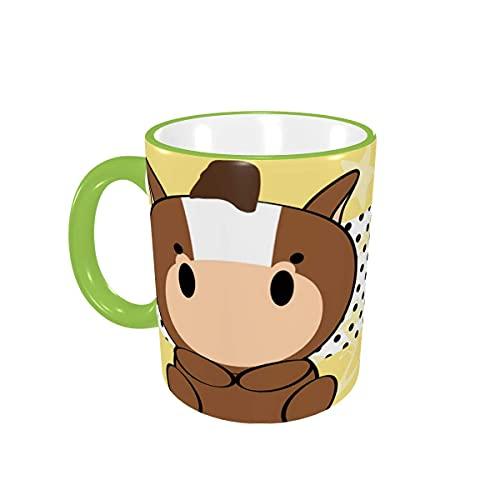 Taza de café Cute Baby Horse Tazas de café Tazas de cerámica con Asas para Bebidas Calientes - Cappuccino, Latte, Tea, Cocoa, Tea Cup, Coffee Gifts 12 oz Orange