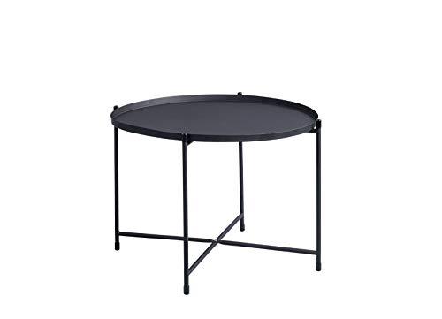 HomeTrends4You Seattle Couchtisch/Beistelltisch, Metall, schwarz, Durchmesser 56cm, Höhe 40cm