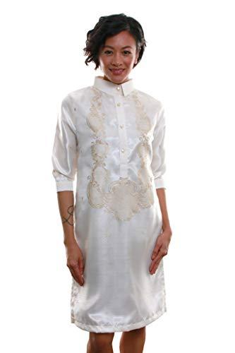 Women's Barong Dress 002 - Modern Filipiniana Traditional Filipino Clothing Embroidered Dress (X-Large)