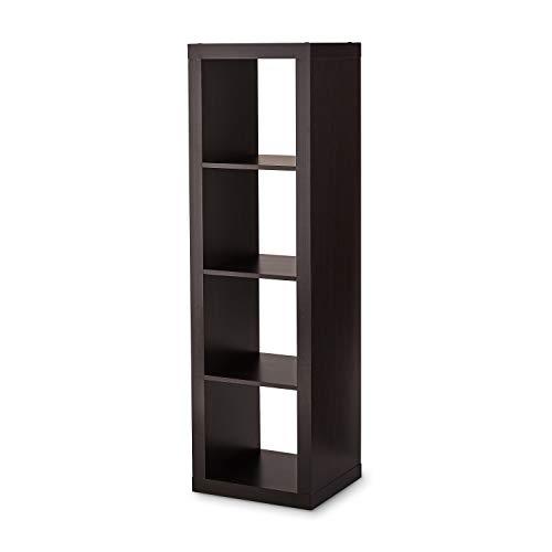 Better Homes and Gardens 4-Cube Organizer Storage Bookcase Bookshelf (4, Espresso.)