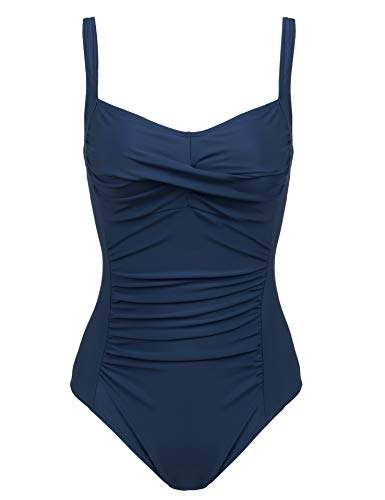 Women Vintage Slimming Halter One Piece Bathing Suit Hide Belly Swimsuits Miracle Swimwear(Navy Blue,Small)