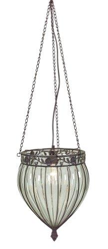 Naeve Leuchten 693531 Orient Suspension en verre et en métal à 1 ampoule E27 de 60 W Marron/transparent Diamètre : 32 cm Hauteur : 40 cm