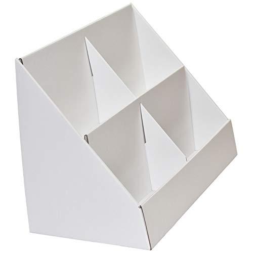 Stand-Store, Verkaufsständer aus Pappe mit 4 Fächern für CD's/DVD's/Grußkarten 1 Stück 175mm pockets - A5 weiß