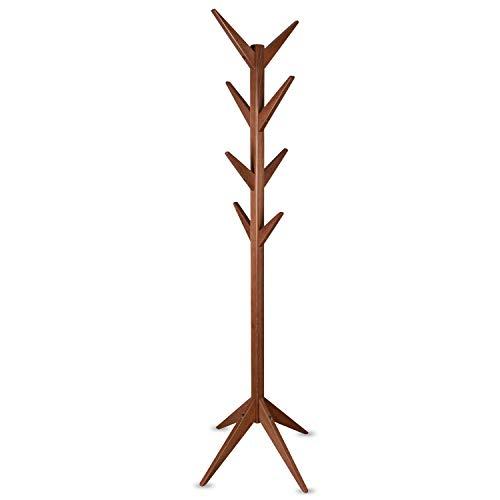 Staboos Massiver Garderobenständer Holz - Buchenholz Baum Garderobe mit Werkzeug - Jackenständer als Äste Garderobe - Standgarderobe (Nussbaum)