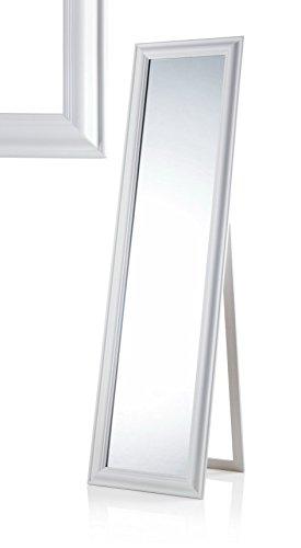 MONTEMAGGI Specchio da Terra con inclinazione Regolabile in Legno Bianco Opaco. Bellissima specchiera in Stile Shabby Chic. Dimensioni: 43,4X4,5X163 cm Variante Unica