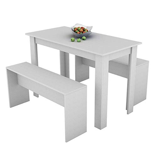 3 -Piece Dining Room Set Wooden Dining Table and 2 Benches Set Oak Kitchen Furniture for Small Space 4 People Timber Garden Table Set (Grey)