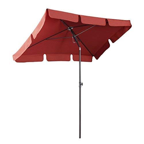 Sekey® Sombrilla 200 x 125cm Parasole para Terraza Jardín Playa Balcón Piscina Patio , Protector Solar UV50+ , Color Rojo, Rectángulo
