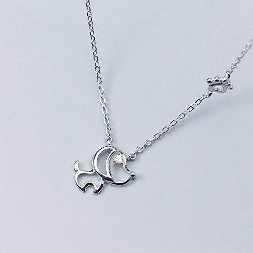 Thumby S925 Silber Halskette Anhänger Weibliche Liebespuppe Halskette Süße Tier Schlüsselbeinkette, Silber, Wie Gezeigt