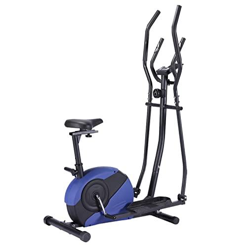 KirinSport Bicicleta elíptica roja y negra con frecuencia cardíaca, volante de inercia: 4 kg, cubierta de cadena con L408 lacado (BLU)
