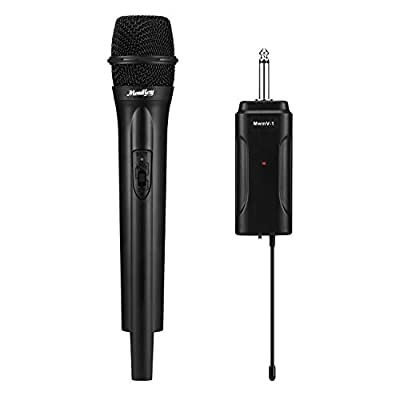 Wireless Dynamic Microphone Moukey Handheld Microphone Karaoke Microphone with Output Adapter VHF Microphone Mic System using distance 50M for PA System, Parties, Work Meetings, Speaking-Mcm-1