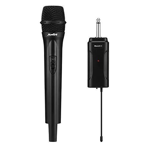 Micrófono dinámico inalámbrico, Moukey Micrófono de mano Micrófono de karaoke con adaptador de salida Micrófono VHF Sistema de micrófono, para sistema de megafonía, fiestas, reuniones de trabajo habla