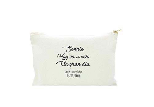 Neceser con frase personalizada en algodón blanco.3 TAMAÑOS Regalo/B